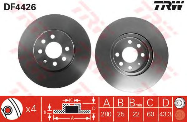 DF4426 Диск тормозной OPEL ASTRA 04-10/MERIVA 03-10 передний