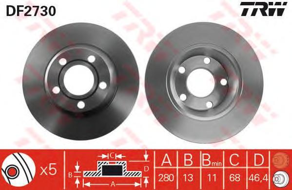 DF2730 Диск тормозной AUDI A4 1.6-1.9 95-01 передний не вент.D=280мм.