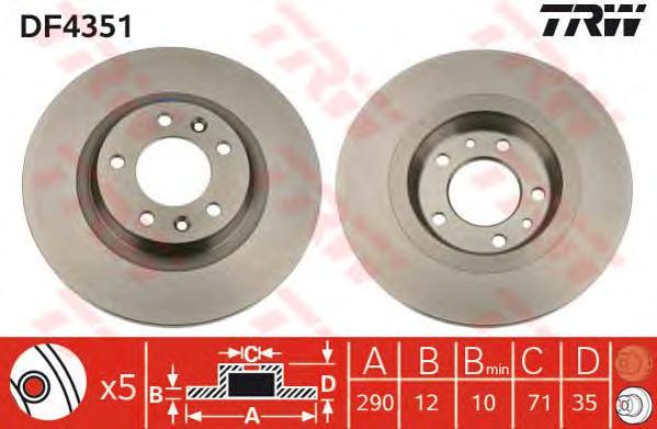 DF4351 Диск тормозной CITROEN C5 08-/PEUGEOT 407 04-/607 00- задний D=290мм.
