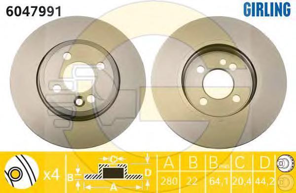 6047991 Диск тормозной MINI COOPER/ONE/CLUBMAN 1.4-2.0 09- передний вент.D=280мм.