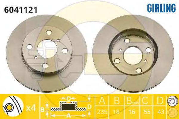 6041121 Диск тормозной TOYOTA YARIS 1.0-1.4 99- передний вент.D=235мм.