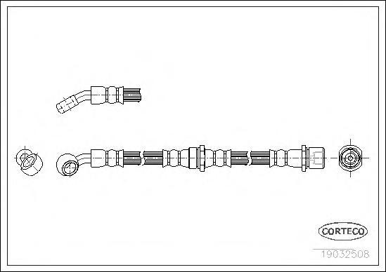 19032508 Шланг торм. Re L Subaru Forester 97-02 555мм