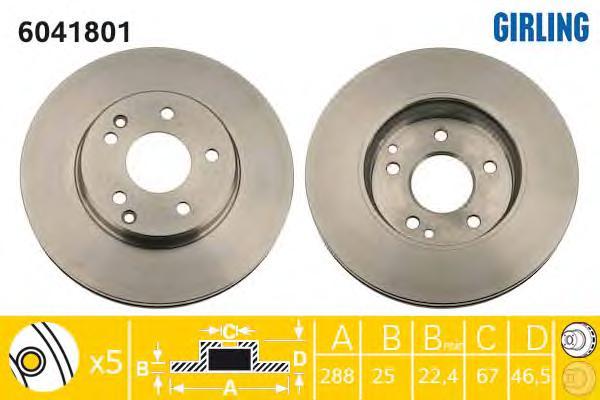 6041801 Диск тормозной MERCEDES W202/W203/W210/R170 2.0-3.0 передний вент.