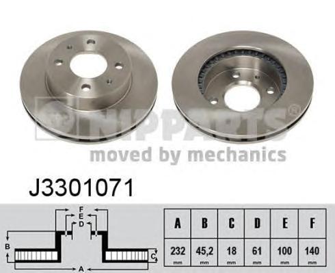 J3301071 Диск тормозной NISSAN ALMERA (N15) 1.4 95-00 передний вент.D=232мм.