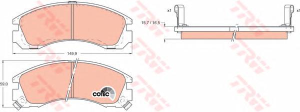 GDB1126 Колодки тормозные MITSUBISHI OUTLANDER 03/PAJERO 9000/00 передние
