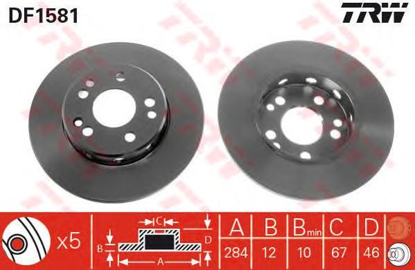 DF1581 Диск тормозной передн MERCEDES-BENZ: COUPE 87-92, E-CLASS 93-95, E-CLASS купе 93-97, KOMBI универсал 85-93, седан 84-93