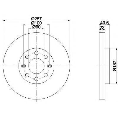 8DD355112581 Диск тормозной OPEL CORSA D 06-/FIAT PUNTO 09- передний вент.