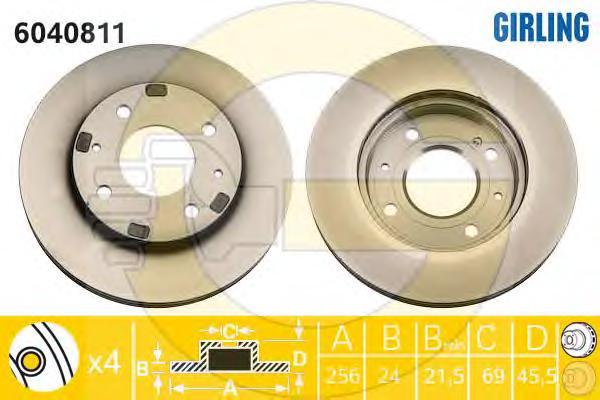 6040811 Диск тормозной MITSUBISHI GALANT 8804/CARISMA 9506/VOLVO S40 9504 передний