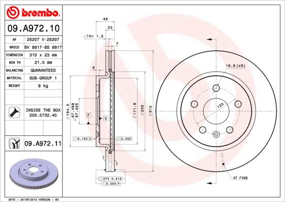 09A97210 Диск тормозной OPEL INSIGNIA 08-/SAAB 9-5 10- задний вент.D=315мм.