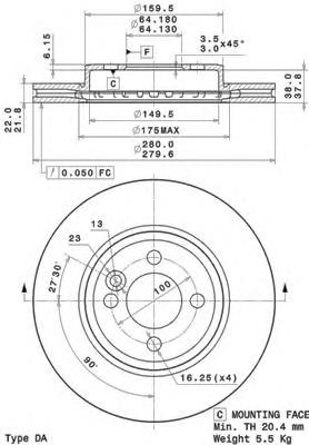 09A76110 Диск тормозной MINI COOPER/ONE/CLUBMAN 1.4-2.0 09- передний вент.D=280мм.