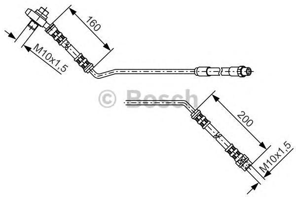 1987476055 Шланг тормозной BMW X5 E53 570мм задний прав.