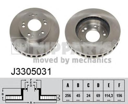 J3305031 Диск тормозной MITSUBISHI ECLIPSE 91-99 передний D=256мм.