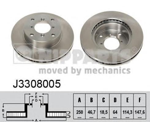 J3308005 Диск тормозной SUZUKI SWIFT 1.3-1.6 89-01 передний вент.D=250мм.