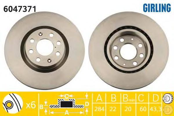 6047371 Диск тормозной OPEL CORSA 06-/FIAT 500 09-/PUNTO 05- передний вент.D=284мм.
