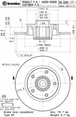 08B39117 Диск тормозной RENAULT MEGANE/SCENIC III 08- задний с подшипником,с кольцом АБС