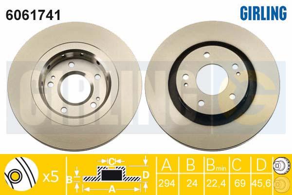 6061741 Диск тормозной MITSUBISHI OUTLANDER 03/CITROEN C-CROSSER/PEUGEOT 4007 пер.вент.