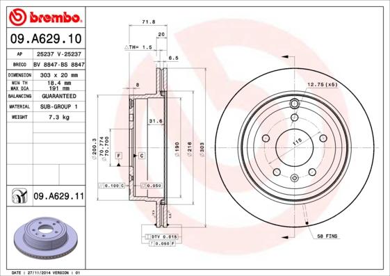 09A62910 Диск тормозной CHEVROLET CAPTIVA/OPEL ANTARA 06- задний вент.D=303мм.