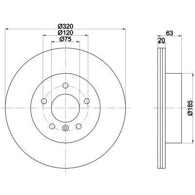 8DD355109941 Диск тормозной BMW 5 E60/61 520-530 03-10 задний D=320мм.