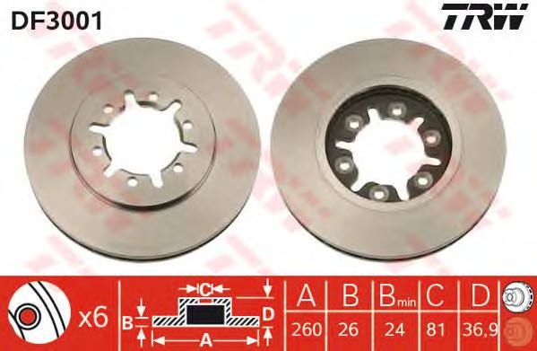 DF3001 Диск тормозной NISSAN PICK UP 92-/URVAN 82-97 передний