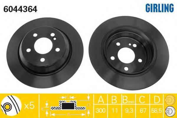 6044364 Диск тормозной MERCEDES W220 2.8-3.5 98-05 задний D=300мм.