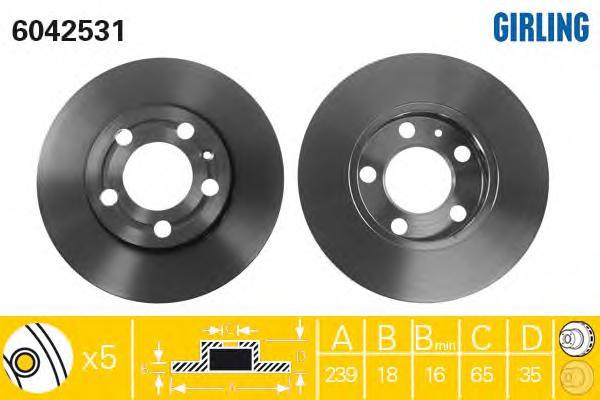 6042531 Диск тормозной SKODA FABIA 1.0-1.9 99-/VW POLO 1.2-1.4 01- передний D=239мм