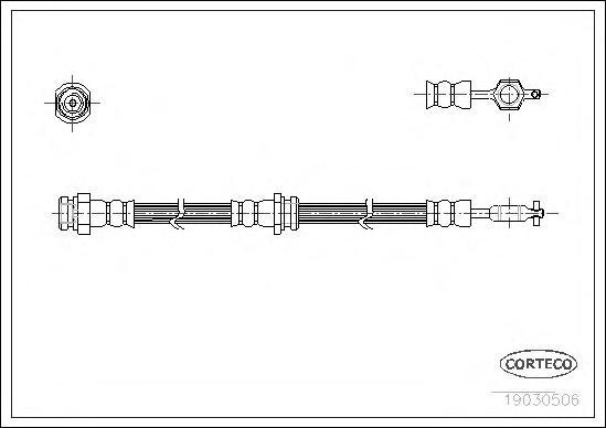 19030506 Шланг тормозной Fr 535мм MAZDA 626 82-92