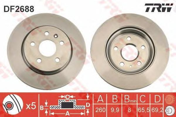 DF2688 Диск тормозной OPEL VECTRA 2.5 93-95/SAAB 900 2.0-2.5 93-98 задний D=260мм.