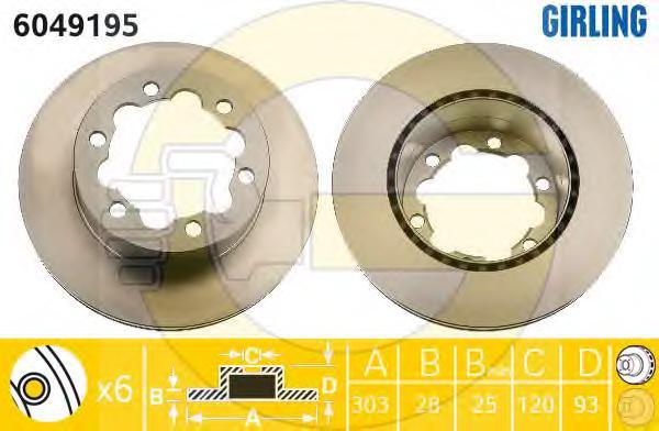 6049195 Диск тормозной MERCEDES SPRINTER 06/VW CRAFTER (3/3.5/5t) 06 задний вент.