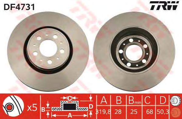DF4731 Диск тормозной VOLVO S60 01-/S80 98-06/V70/XC70 01- передний вент.D=320мм.