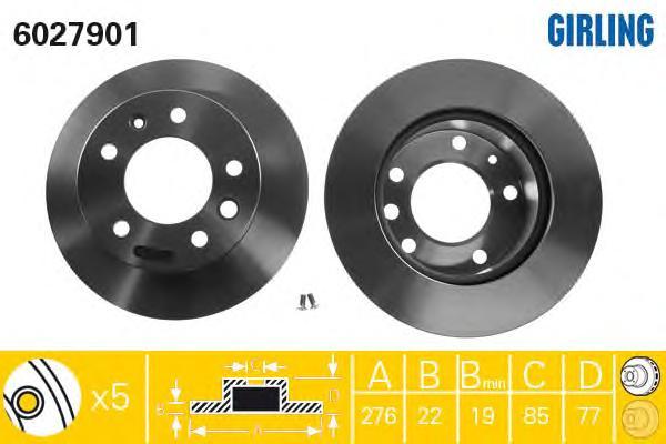 6027901 Диск тормозной MERCEDES SPRINTER 9506/VW LT 28-46 9506 передний вент.