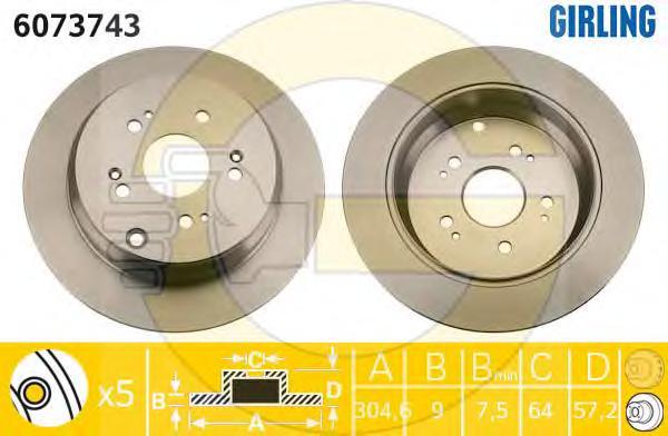 6073743 Диск тормозной HONDA CR-V 02- задний D=305мм.