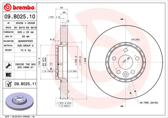 09B02511 Диск тормозной передн VOLVO XC60 ( 9.10-) F / VOLVO XC60 ( 7.09-) F / VOLVO XC60 ( 6.11-) F / VOLVO XC60 ( 5.08-) F / V