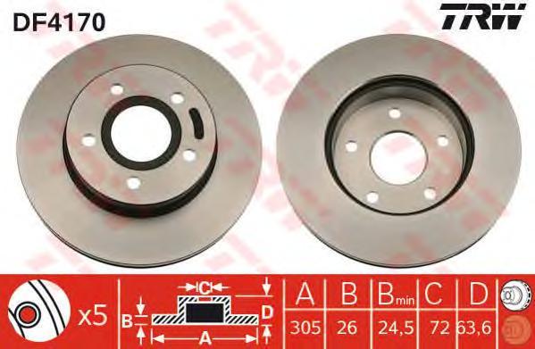DF4170 Диск тормозной JEEP CHEROKEE 91-/GRAND CHEROKEE 99- передний вент.D=305мм.