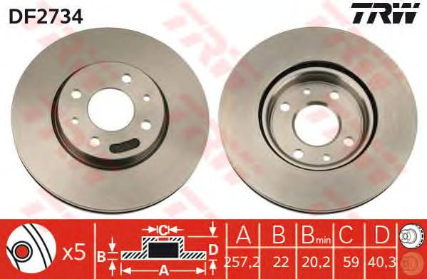 DF2734 Диск тормозной FIAT DOBLO 05-/IDEA 04-/PANDA 99-/STILO 02- передний