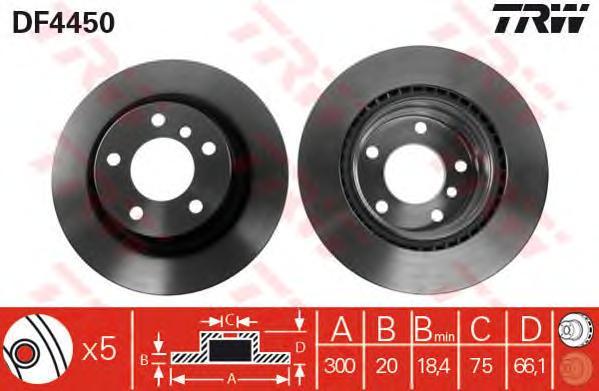 DF4450 Диск тормозной BMW 1 E81/E87/3 E90/91 1.6-3.0 05- задний вент. D=300мм.