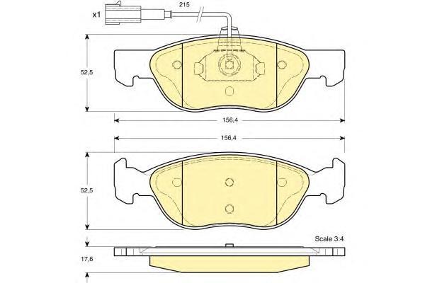 6113872 Колодки тормозные ALFA 145/146/FIAT BRAVO -01/PUNTO 01- передние с датчиком