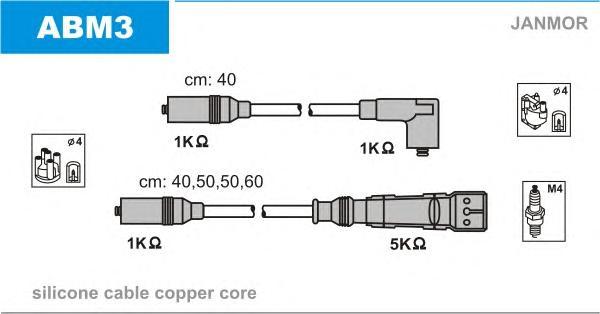 ABM3 Комплект проводов зажигания AUDI: 80 78-86, 80 86-91, 80 91-94, 80 Avant 91-96, COUPE 88-96