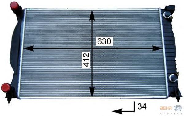 8MK376717231 Радиатор системы охлаждения AUDI: A4 (8E2, B6) 1.6/1.8 T/1.8 T quattro/1.9 TDI/1.9 TDI quattro/2.0/2.0 FSI 00-04, A