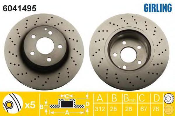 6041495 Диск тормозной MERCEDES W220 280-350/C215 500 передний D=312мм.