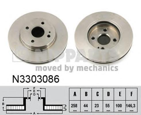 N3303086 Диск тормозной MAZDA 2 07- передний вент.D=258мм. d=55mm