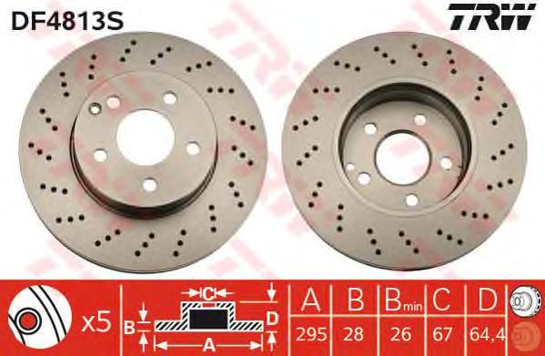 DF4813S Диск тормозной MERCEDES W204/W212 09- передний D=295мм.с перфорацией