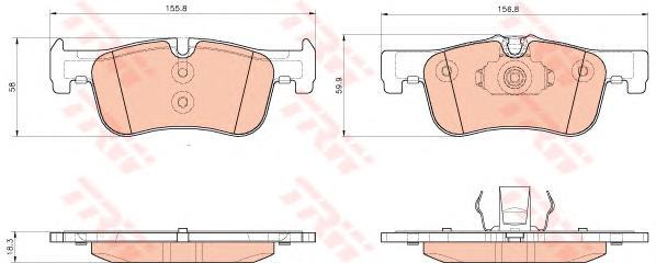 GDB1935 Колодки тормозные BMW 1 F20/F21 114-118 10- передние