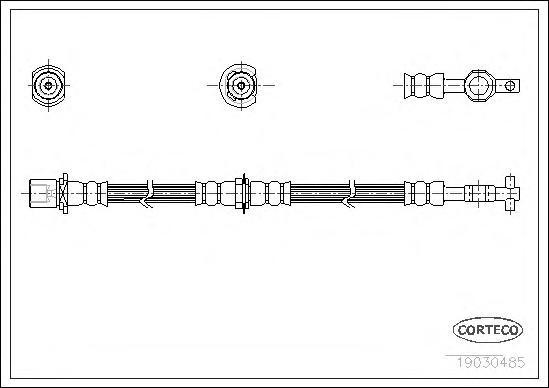 19030485 Шланг тормозной Fr TO Cor E9,Car T170 476мм