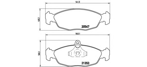 P59011 Колодки тормозные OPEL ASTRA F/DAEWOO NEXIA/CHEVROLET LANOS 1.4/1.5 97 передние