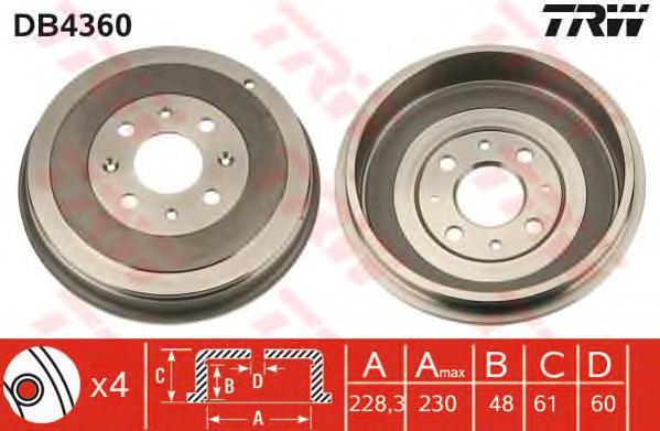 DB4360 Барабан тормозной OPEL CORSA D 06- D=228,3мм