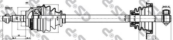 250261 Привод в сборе RENAULT CLIO II/KANGOO 1.5DCI 01-09 лев. +ABS