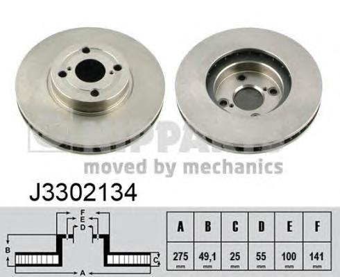 J3302134 Диск тормозной TOYOTA COROLLA (E12) 1.4-2.0 02- передний