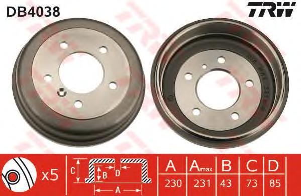 DB4038 Барабан тормозн MB T1 82-96 (329141J)