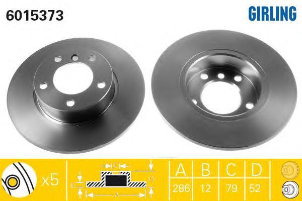 6015373 Диск тормозной BMW 3 E36 1.6-1.9 90-00 передний не вент.D=286мм.