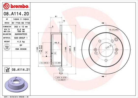 08A11420 Диск тормозной HYUNDAI SONATA (NF)/TUCSON 04-/KIA SPORTAGE 04- задний D=262мм.